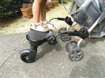NEOママつれてってを取り付けた図 ママ連れてって 日本育児 バギーボード